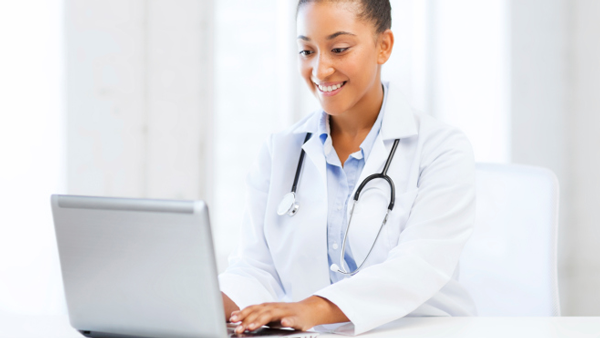 Female Doctor Taking Online Surveys